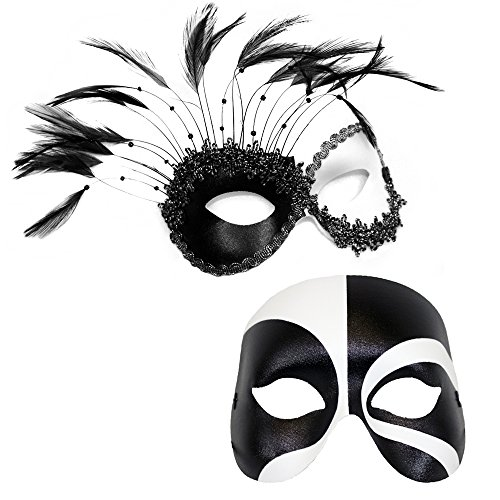Success Creations Transfixed Couple's Masquerade Masks Black White ()