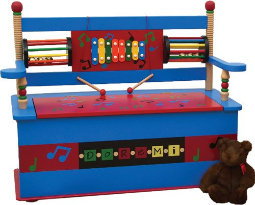 Musical Kids Bench with Storage Compartment by Levels of Discovery