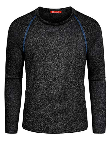(Blevonh Baseball Shirts,Man Sunny Cool Breathable Long Sleeve Fit Relax Sweat Absortion Workout Hiking Performance Raglan Seams and Exposed Stitching Tee Size(XL,Black Gray))