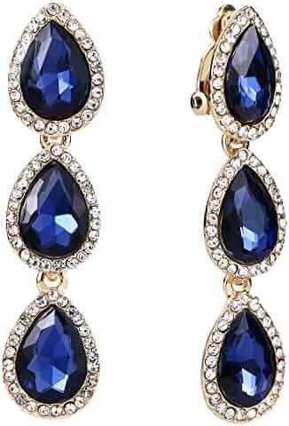 0bb143f81 EleQueen Women's Austrian Crystal Teardrop Pear Shape 2.4 Inch Long Clip-on Dangle  Earrings