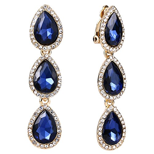 (EleQueen Women's Gold-tone Austrian Crystal Teardrop Pear Shape 2.4 Inch Long Clip-on Dangle Earrings Sapphire Color)
