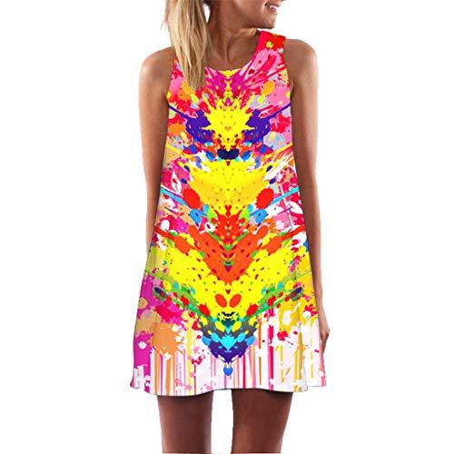 Women Dress Vintage Summer Sleeveless Retro 3D Floral Print Boho Beach Casual Mini Short Dress T-Shirt (S, -