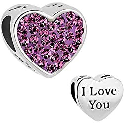 CandyCharms I Love You Feb Birthstone Purple Crystal Heart Love Beads For Charm Bracelets Valentine's Day Gifts Idea
