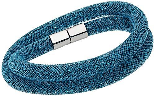 Swarovski Stardust 5120022 Teal Blue Crystals Double Wrap Bracelet – M