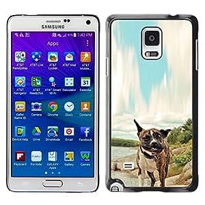 Caucho caso de Shell duro de la cubierta de accesorios de protección BY RAYDREAMMM - Samsung Galaxy Note 4 - Pitbull Tiger perro del boxeador
