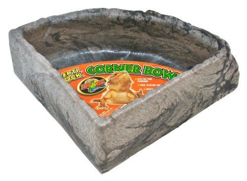 Zoo Med Reptile Rock Corner Water Dish, Large - Assorted colors by Zoo Med (Corner Water Dish Rock)