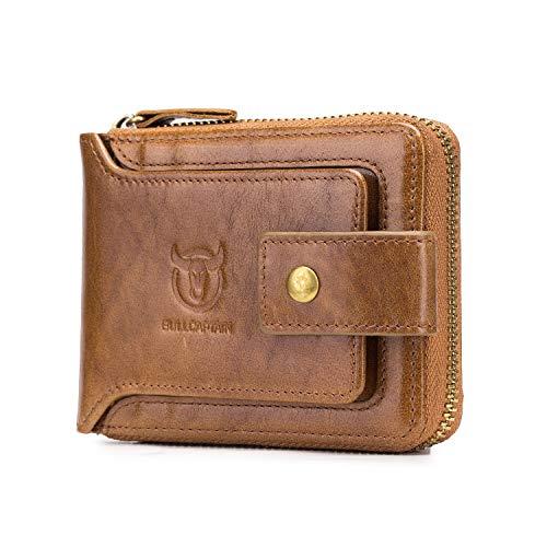 RFID Bifold Men's Cowhide Leather Zip Around Wallet Vintage Travel Multi Card Holder Purse (Yellow)