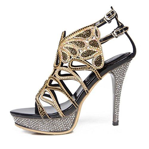 Alto Sandali Cinturino Women's Donna Spillo A Tacco Nero Tallone Sandals E Estivi Con Sul 8xpfw