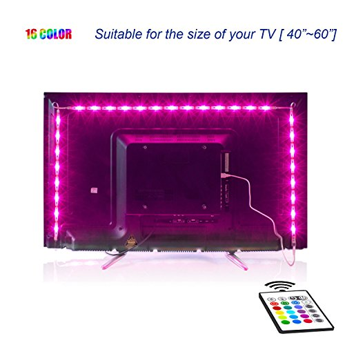 LED TV Backlight,2M USB Bias Lighting with 16 Colors and 4 Dynamic Mode for...