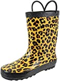 Rainbow Daze Kids Rain Boots with Easy-on Handles, Leopard Print,Waterproof,100% Rubber,Toddler Size 7-8,Leopard