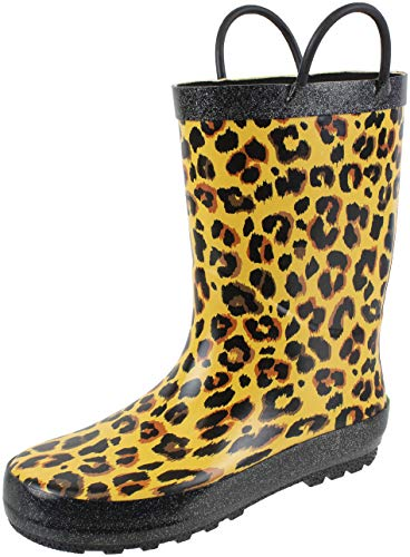 Rainbow Leopard Print - Rainbow Daze Kids Rain Boots Leopard Print,Easy on Handles,Prints,Waterproof,Unisex Boots,Big Kid 2/3