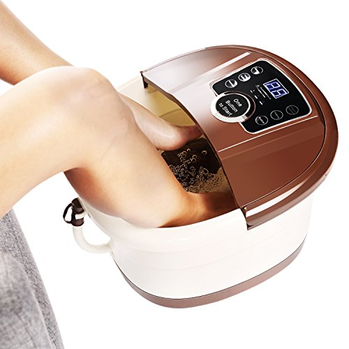[ Best Gift !!! ] Guisee All in One Foot Spa Massager, Tai Chi Motorized Shiatsu Roller Massaging Acupuncture with O2 Bubbles,Digital Adjustable Temperature & Frequency Conversion on LED Display by Guisee (Image #8)