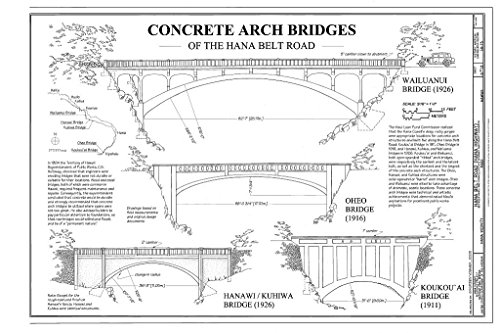 (historic pictoric Blueprint Diagram Concrete Arch Bridges of The Hana Belt Road - Hana Belt Road, Between Haiku and Kaipahulu, Hana, Maui County, HI 44in x 30in)