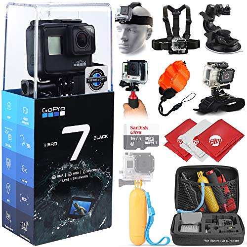 GoPro HERO7 Black 4K 12MP Digital Camcorder w/ 16GB - 18PC Sports Action Bundle (GoPro Action Case, Handgrip, Large Suction Cup Window Mount, Floating Handgrip with Strap, 8-Piece Cleaning Kit