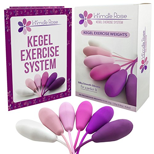 Intimate Rose Kegel Exercise Weights - Doctor Recommended for Bladder Control & Pelvic Floor Exercises - Set of 6 Premium Silicone Vaginal Kegel Balls with Training Kit for Women: Beginners & Advanced