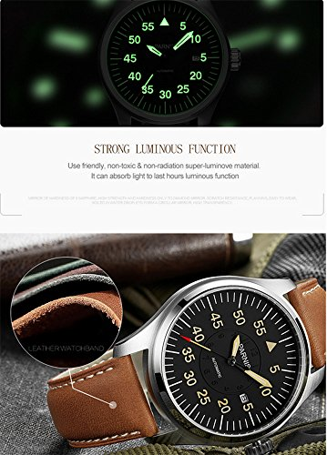 Luxury Men Automatic Mechanical Black Dial Luminous Waterproof Sapphire Genuine Brown Leather Watch (Brown Silver Black) by Fanmis (Image #2)