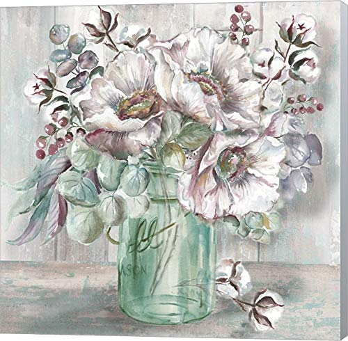 Blush Poppies and Eucalyptus in Mason Jar by