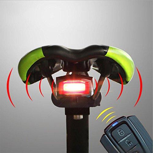 Las Luces Traseras De La Bicicleta Alarma Antirrobo Inteligente Alarma De Carga USB Llevó Luces De Alarma De Advertencia De...