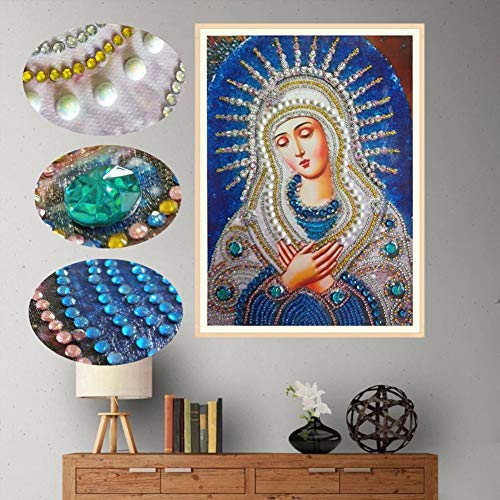 Special Shape 5D Diamond Painting Kits for Adults Kids, Awesocrafts Religion Virgin Mary Partial Drill DIY Diamond Art Embroidery Paint by Numbers with Diamonds (Virgin Mary) (Rooster For Sale Paintings)