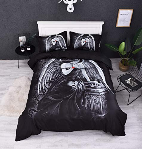 (Abojoy Guardian Angel Wings Skull Duvet Cover Set, Black and White 3 Piece Bedding Set for Teens Boys Girls, Queen(1 Quilt Cover + 2 Pillowcases))