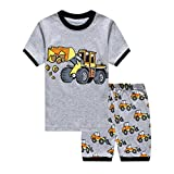 Little Hand Boys Tractor 2 pc Kids Childrens Pajama Set 100% Cotton Short Sets, Gray Truck, 2-3 Years/3T