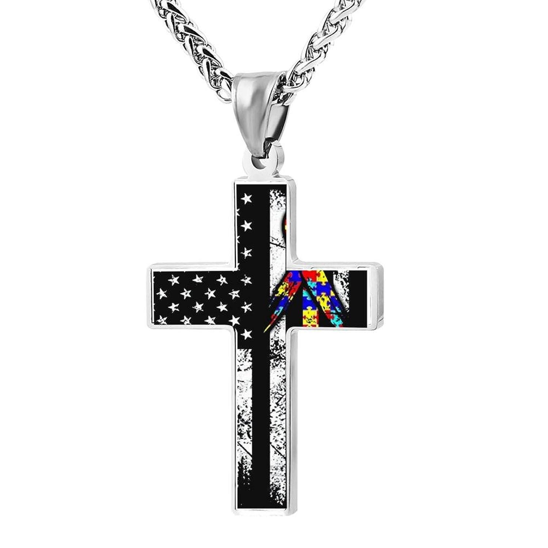 BlingDi Fashion Design Autism Awareness Ribbon American Flag Zinc alloy Religious Cross Pendant Necklace