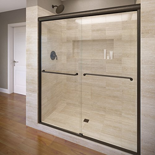 celesta sliding shower doorfits inch opening clear glass oil rubbed bronze finish