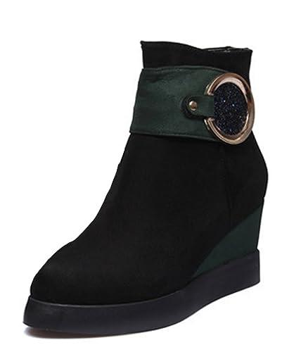 SHOWHOW Damen Warm Nubuk Kurzschaft Stiefel Keilabsatz