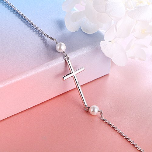 S925 Sterling Silver Sideways Cross Adjustable Link Bracelet for Women ''Mother's Day Gift'' by SILVER MOUNTAIN (Image #3)