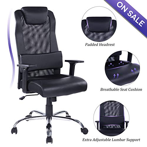 REFICCER Mesh & Leather Office Chair Computer Desk Task Ergonomic Swivel Chair - Adjustable Lumbar Support and Padded Headrest, Black (Swivel Desk Chair Leather)