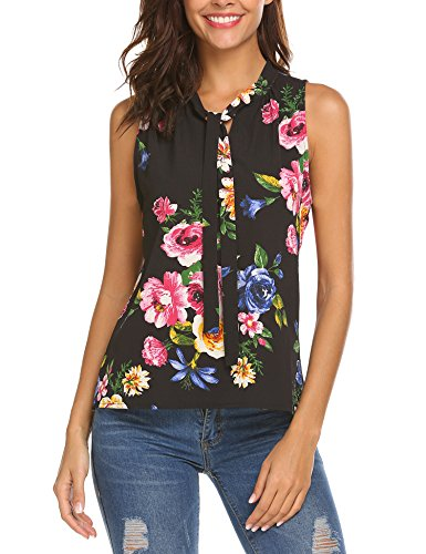 Mofavor Women's Summer Bow Tie Blouse Casual Sleeveless Floral Print Tank Top