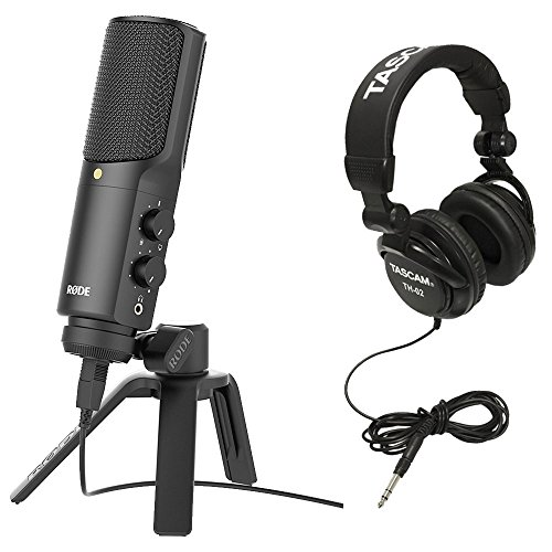Rode NT-USB USB Condenser Microphone with Full-Size Headphones (Black) (Rode Pop Shield)