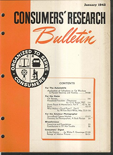 - CONSUMERS RESEARCH BULLETIN Cellophane on Car Windows Borax Porcelain ++ 2 1942