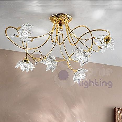 Plafón lámpara de Techo diseño Moderno 6 Luces brazos flores ...