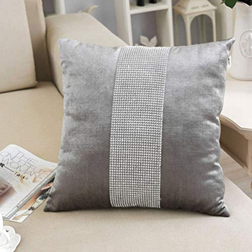 San Tungus Pack of 2, Grey Matching Christmas Sequin Pillow Casses with Insert Elegant Rhinestone Decor Sofa Pillows Throw Cushion Cover with Sequined Rhinestone, 18×18 Inches