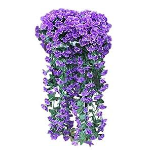 Respctful✿ Flowers Artificial for Decoration Wall Wisteria Basket Fake Silk Rattan Plant Garden Floral Hanging Baskets Decor Blue 32
