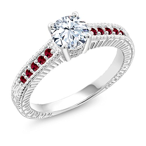 Gem Stone King 1.35 Ct White Created Sapphire Red Created Ruby 925 Sterling Silver Ring (Size 6)