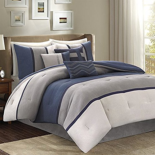 Set Palisades Comforter (Madison Park Palisades Blue Stylish Premium Quality Palisades 7 Piece Comforter Set Queen Size, 1 comforter, 2 shams, 1 bedskirt and 3 decorative pillows)