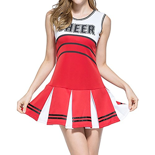 Ladies Sexy Varsity High School Cheer Girl Sexy Cheerleader Costume Uniform Halloween Fancy Dress Costume