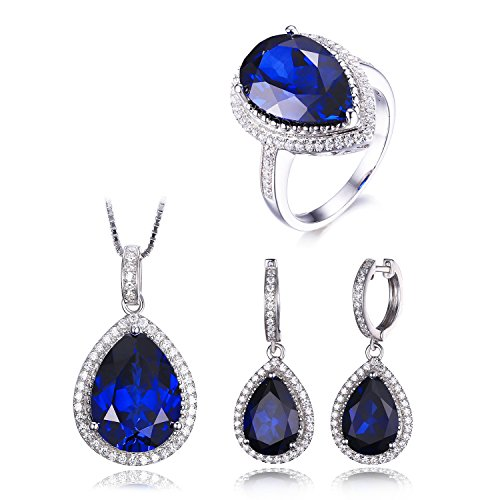 JewelryPalace Women's Luxury Pear Cut Created Blue Sapphire Engagement Ring Pendant Dangle Earrings Solid 925 Sterling Silver Size 7 by JewelryPalace