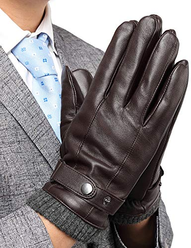 Leather Gloves for Men, with 3M Thinsulate Insulation Full-Hand Touchscreen Dress Texting Driving Winter Warm Lining Knitted Cuff Cold Weather Gloves, Brown, US M-8.5