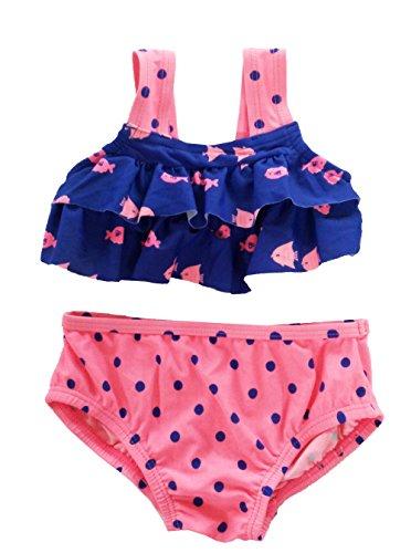Baby Little Girls Swimsuits Bikini Fish Swimwear Ruffle Swimming Costume