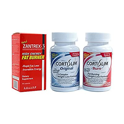Basic Research Zantrex-3 High Energy Fat Burner 56 ea and Cortislim Original Burn Stack
