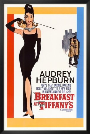 Professionally Framed Audrey Hepburn Breakfast at Tiffany's with Credits Movie Poster - 24x36 with RichAndFramous Black Wood Frame