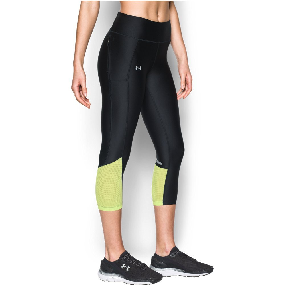Under Armour Women's Fly-By Capri,Black (004)/Reflective, X-Small