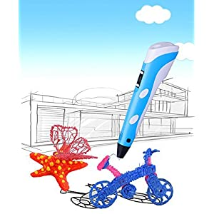 DOMO 3D Printing Pen nScribe Build Star+ Plus 3D Doodling Printer Scribbler Pen with LCD for 1.75mm PLA and ABS - with Free Sample Filaments (Blue)