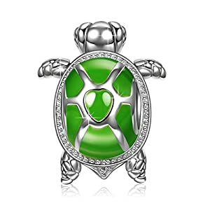 "NINAQUEEN ""Wise Tortoise 925 Sterling Silver Green Enamel [Happy Family] Animal Bead Charms Best Jewelry Gift for Animal Fever"