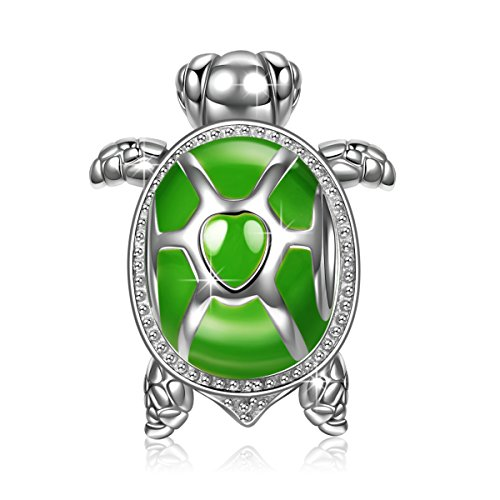 "NINAQUEEN ""Wise Tortoise 925 Sterling Silver Green Enamel [Happy Family] Animal Bead Charms Best Gift for Animal Fever Kids Women"