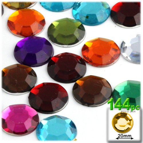 (The Crafts Outlet 144-Piece Round Rhinestones, 20mm, Jewel Tone Assortment)