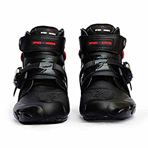 Chitone Motorcycle Boots Men Racing Black (US9.5)